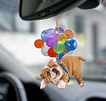 Bulldog Fly with Bubbles Bulldog Lovers Dog Moms Car Hanging Ornament Windows Decor Ornament for Mother s Day Father s Day Halloween Thanksgiving Christmas New Year