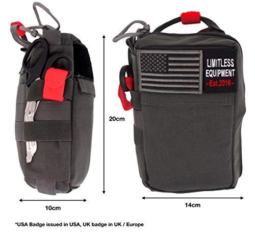 Camping Senderismo Limitless Equipment Alpha de Equipo Ilimitado: IFAK para Uso Militar Supervivencia y autom/óvil.