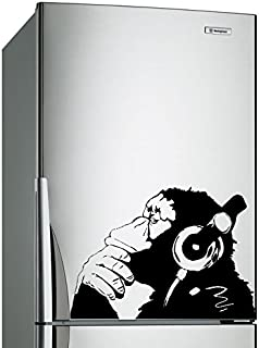 (16'' x 12'') Banksy Vinyl Wall Decal Monkey with Headphones / One Color Chimp Listening to Music in Earphones / Street Gr...