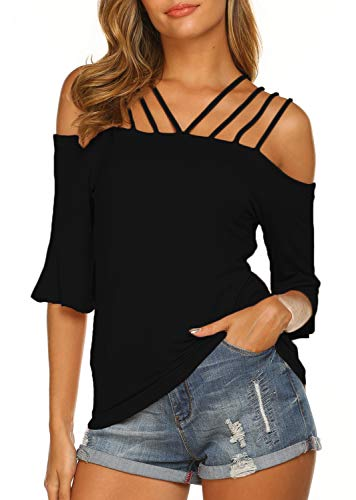Newchoice Off The Shoulder Shirts for Women Sexy Spaghetti Straps Pullover Blouse (L,Black)