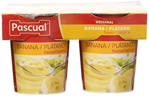 Pascual Yogur Sabor Plátano - Paquete de 4 x 125 gr - Total: 500 gr - , Pack de 6