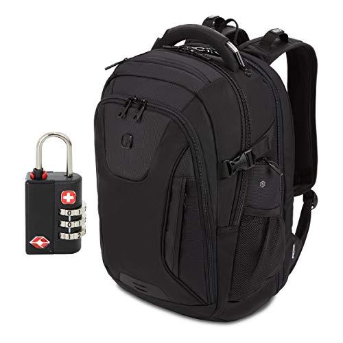 SwissGear 5358 USB ScanSmart Laptop Backpack. Abrasion-Resistant & Travel-Friendly Laptop Backpack (Black/Black Stealth)