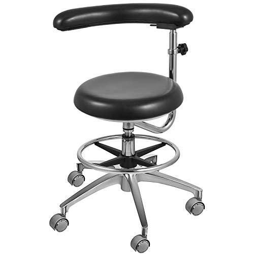 Aries Outlets Black Dental Assistant Stool 360° Rotation Armrest PU Leather Backrest Medical Office