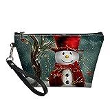 Howilath Bolsa de aseo con mango animal, bolsa de almacenamiento de maquillaje con diseño de lobo y mariposa, para adolescente, muñeco de nieve, talla única, Bolsa de aseo
