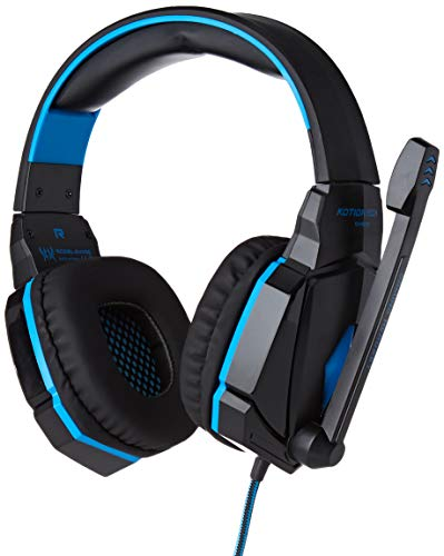 Gamer-koptelefoon met microfoon en afstandsbediening voor PS4 Playstation 4 USB-jack LED soundcontroller (blauw)