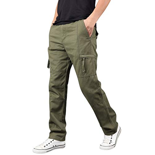 FIRMON-Jeans Herren Loungehose Sommer Gym Outdoor Multi-Pocket Lange Hosen Latzhose gerade Sport Sweatpants Gr. 27-32, Grüne Hose Herren
