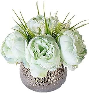 Sweet Home Deco Silk Peony Arrangement in Silver Ceramic Vase Table Flower Home Decor Wedding Centerpiece (Mint)