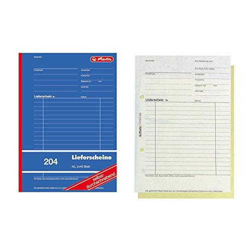 Herlitz 883520 Lieferscheinbuch A5, 2 x 40 Blatt, selbstdurchschreibend, 10 Stück