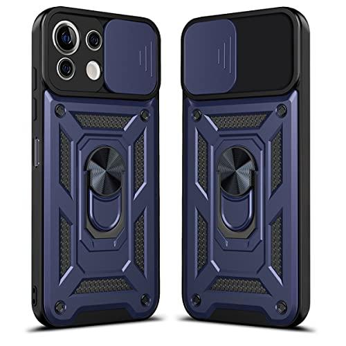LOCLOUD Funda para Xiaomi Mi 11 Lite 5G / 4G, Protección de la Cámara Carcasa con Cubierta de Cámara Deslizante y Soporte de Anill PC Dura y TPU Silicone Anti-Choque Anti-arañazos Case – Azul