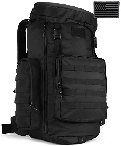 Protector Plus Tactical Hiking Daypack 70-85L Military MOLLE Assault Backpack Army Traveling Camping Pack Bug Out Bag Outdoor Rucksack (Rain Cover & Patch Included),Black