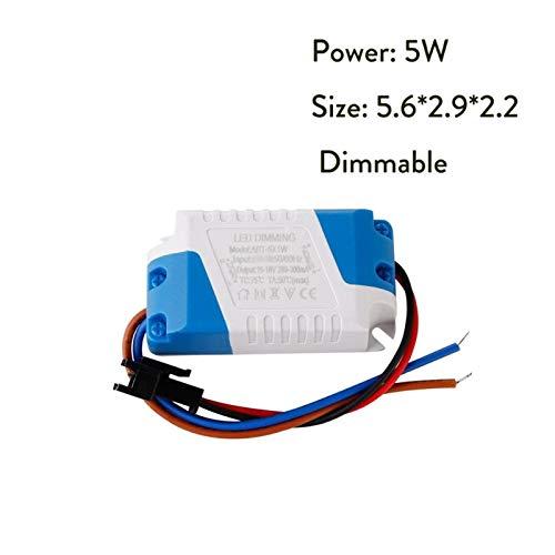 Ultra delgado Dimmable 3W 5W 7W 8-10W 15W 15-24W Adaptador de controlador de la fuente de alimentación Transformador 300mA para Downlight 85-265V Adaptador de interior al aire libre (Color : 5W)