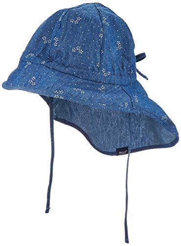maximo Mädchen Nackenschutz Mütze, Blau (Jeans-silberblume 63), (Herstellergröße: 55)