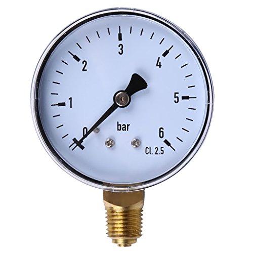 dailymall - Manómetro de 1/4 pulgada NPT con cara manométrica de 2,3 pulgadas, manómetro de 6 bares por Ex. Para reductores de presión, filtros de agua, indicadores de presión