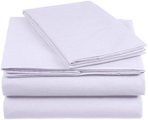 Amazon Basics AB 200TC Cotton - Light, 100% Baumwolle, Lila, 135 x 200 cm & 1 Kissenbezüg 80 x 80 cm