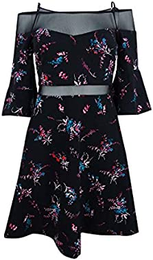 GUESS Women's Floral Print Off The Shoulder Bell Sleeve Dress Black Size 6