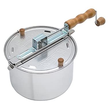 Original Wabash Valley Farms Whirley Pop Silver Stovetop Popcorn Popper - Perfect Popcorn in 3 Minutes, Makes a Great Gift