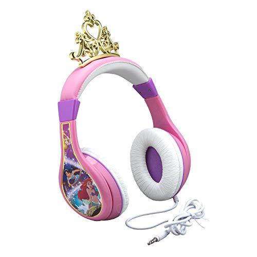 Disney Princess Kids Headphones, Adjustable Headband, Stereo Sound, 3.5Mm Jack, Wired Headphones for Kids, Tangle-Free, Volume Control, Foldable, Childrens Headphones Over Ear for School Home, Travel