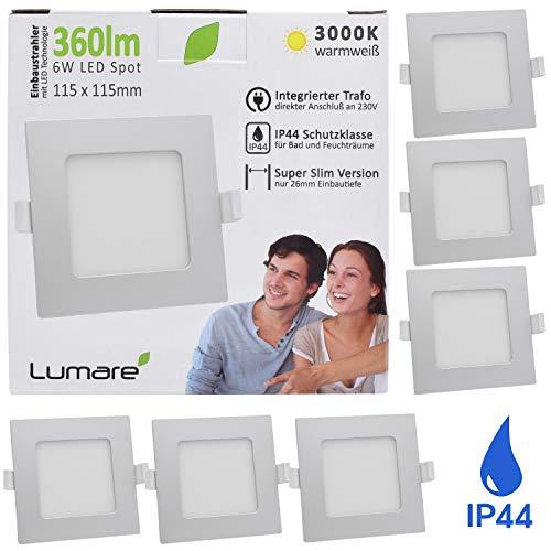 Lumare LED Einbaustrahler 6W 230V IP44 Ultra flach 6er Set Wohnzimmer, Badezimmer Einbauleuchten silber quadratisch 26mm Einbautiefe Mini Slim Decken Spot warmweiß