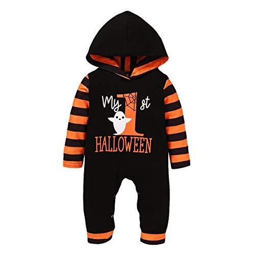 Bowanadacles Pagliaccetto Neonato Neonata Unisex Costume per Halloween con Cappuccio a Maniche Lunghe Stampa di Fantasma e Lettere Divertenti 0-18 Mesi (A, 0-6 Mesi)