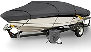 North East Harbor Gray Heavy Duty Waterproof Mooring Boat Cover Fits Length 16` 17` 18.5` Superior Trailerable Boat 600 Denier V-Hull Fishing Ski Boat Runabout Pro Bass Inboard Outboard Boat Covers