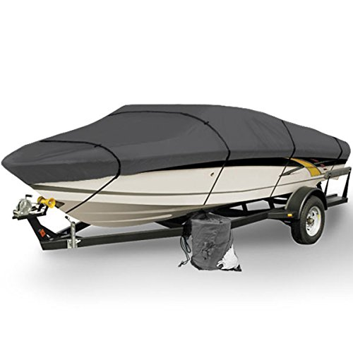 North East Harbor Gray Heavy Duty Waterproof Mooring Boat Cover Fits Length 20' 21' 22' Superior Trailerable Boat 600 Denier V-Hull Fishing Ski Boat Runabout Pro Bass Inboard Outboard Boat Covers