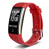 Time Collect Pulsera Inteligente S2 Sports Fitness Tracker Impermeable OLED Pantalla Táctil Smart Watch Band con Monitor de sueño, Actividad Trackers Pedometer Wristband (rojo)