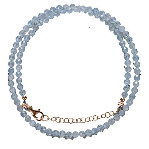 18 inch long round shape faceted cut natural aquamarine 3.5-4 mm beads necklace with 925 sterling silver clasp for women, girls unisex