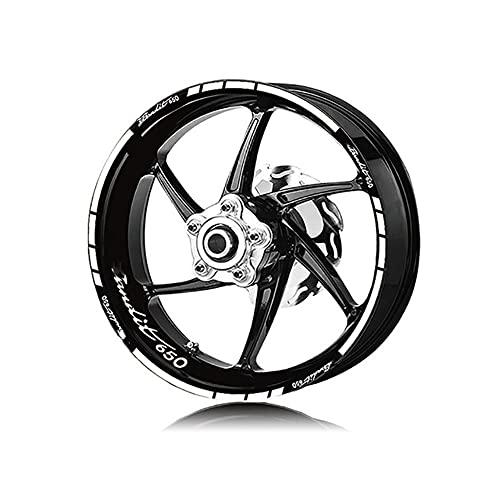 Protector DE Tanque Moto para Su&zuki para Bandit 650 para Bandit 650 Pegatinas De Neumáticos De Motocicleta Rayas De Ruedas Pegatinas Reflectantes Impermeables (Color : 3)