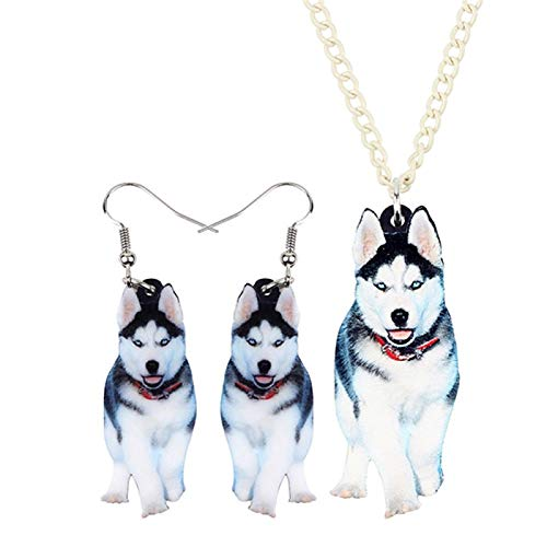 Acrílico Siberiano Husky Dog Jewelry Set Pendientes Collar Colgante Moda Moda Regalos...