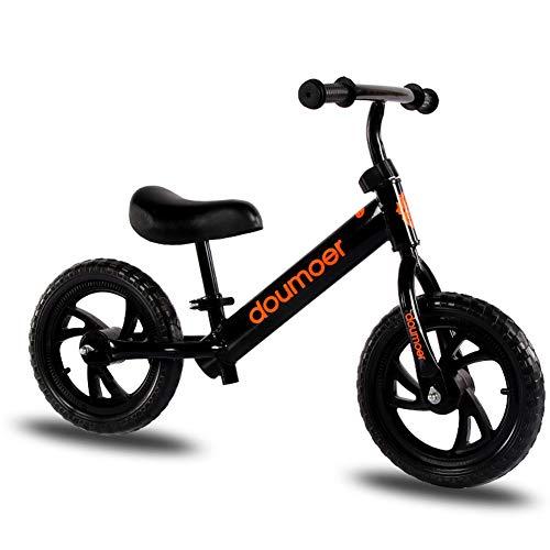 QqHAO Balance Bike 12 Zoll Scooter ohne Fuß, zweirädrigen Kinder Balance-Fahrrad-Roller ist geeignet für 2-6 Jahre alt Baby-Scooter,Schwarz