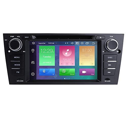 Android 10 Autoradio 4+64G para MW 3 Series E90/E91/E92/E93 2006-2012 BM 1 DIN Radio DVD GPS Control del Volante Bluetooth WiFi 4G RDS DSP Dab+ Entrada de Vista Trasera USB Botones LED