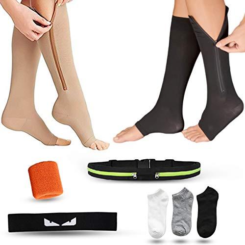 Kniehoch, offene Zehen, 2 Paar Kompressionsstrümpfe, Reißverschluss, Geschenk, Gürtel, Rucksack, Kopftuch, Armband und drei Paar Socken, geeignet für Krampfadern, Ödemen oder Outdoor-Sportarten