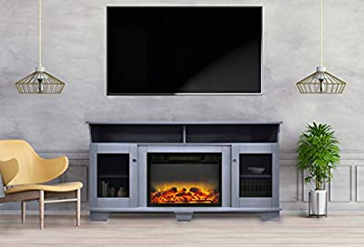 CAMBRIDGE Slate Blue Savona 59 in. Electric Fireplace Entertainment Stand and Enhanced Log Display from Cambridge