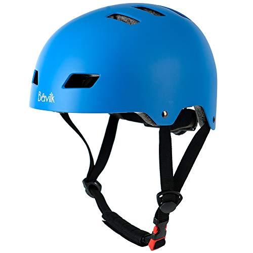 Bavilk Skateboard Bike Helmets Multi Sports Scooter Inline Roller Skating 3 Sizes Adjustable for Kids Youth Adults Blue L
