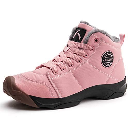 Axcone Winterschuhe Damen Herren Warm Gefüttert wasserdicht Winterschuhe Winter Outdoor Boots Wanderstiefel Stiefel Unisex - Pink 38EU