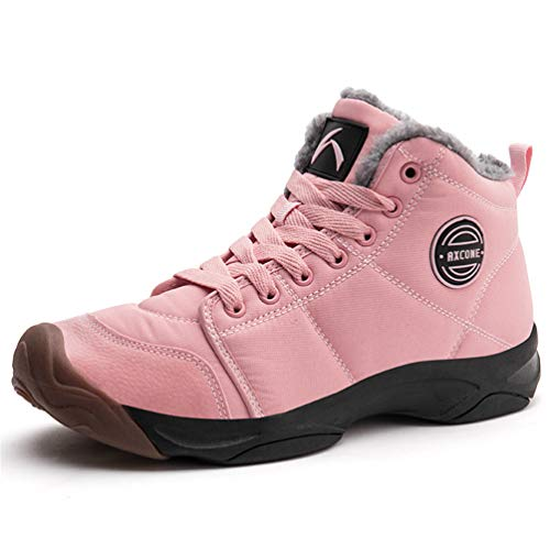 Axcone Winterschuhe Damen Herren Warm Gefüttert wasserdicht Winterschuhe Winter Outdoor Boots Wanderstiefel Stiefel Unisex - Pink 39EU