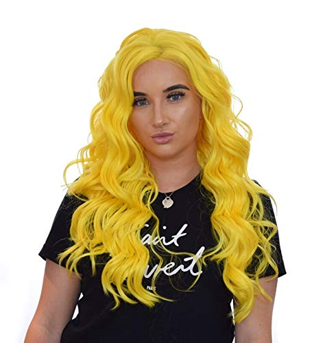 Long Wavy Lemon Yellow Lace Front Glamour Wig. Centre Side Parting. Unisex adjustable wefted wig cap. Heat styleable hair-like fibre