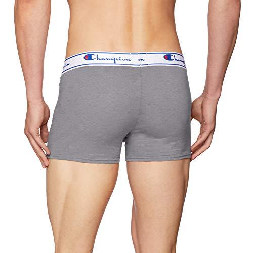 Champion Men's Coton Boxer Shorts, Multicolour (Grey/Black 8Md), Large, (pack of 2)