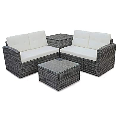 Rhomtree 4 Pcs Patio Sofa Set Outdoor Wicker Rattan Furniture Conversation Set with Storage Cabinet and Coffee Table for Garden Backyard Pool