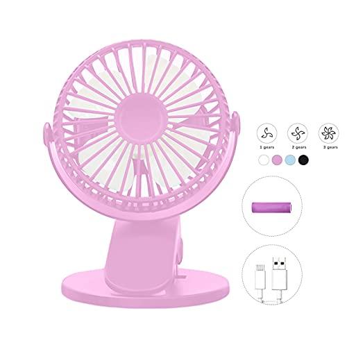 LHKK Ventilador Clip Ajustable 360 °, Mini Ventilador enfriamiento Escritorio USB, Ventilador portátil con 3 velocidades, pequeño Ventilador de enfriamiento Aire Recargable Pink