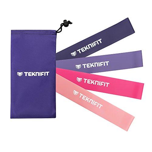 Fitnessbänder 4er-Set 4 Stärken für Frauen, Resistenz / Widerstands / Gym-Bänder / Loops 30cm in Pink Rosa für Yoga Pilates Sport Booty Workout Reha mit Tasche