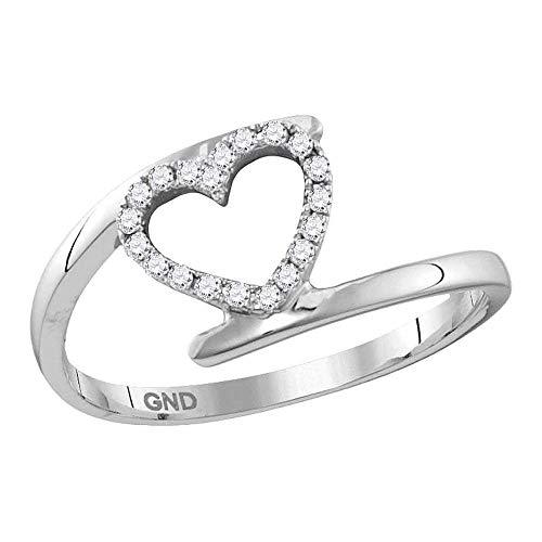 Saris and Things 10k Oro Blanco para Mujer de Diamante Redondo Held corazón del Anillo de 1/8 cttw