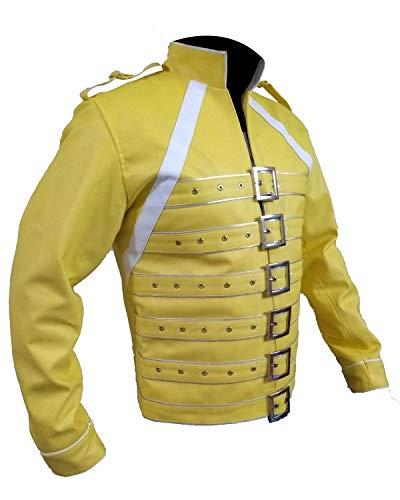 Shop House Freddie Mercury Jacke Gelb für Männer (XXS-5XL) King Freddie Kostüm Rockstar Jacke, Freddie Mercury Konzert Königin Fancy Kostüm (2XL (Befolgen Sie die Größentabelle))