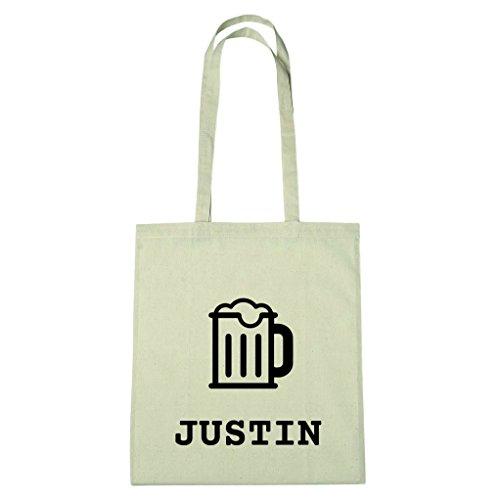 JOllify Baumwolltasche - Happy Birthday für JUSTIN - Bier Gruß