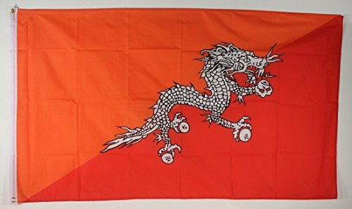 Flagge Fahne Bhutan 90x60 cm wetterfest und lichtecht für innen und aussen