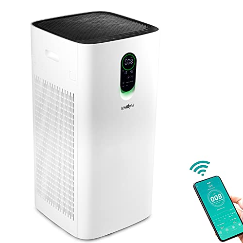 lovittyAir Plus Portable Air Purifiers for Home Large Room 2100 Sq. Ft., H13 HEPA filter Air Purifier Smart WIFI for Whole House, Cleaner for Mold, Smoke, Pollen, Dust, Allergies, Pets at Office