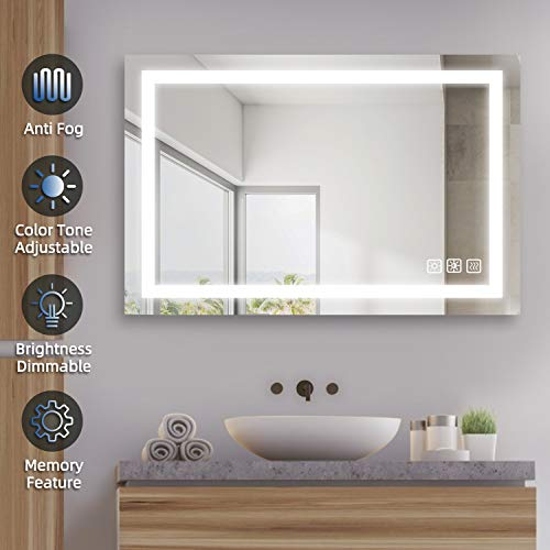 SL4U 36 x 24 Inch LED Lighted Bathroom Mirror, Dimmable Wall Mounted Makeup Mirror with Light Dimming & Color Tone Control, Anti-Fog, Memory Touch Button, Vertical & Horizontal | YSJ-A001