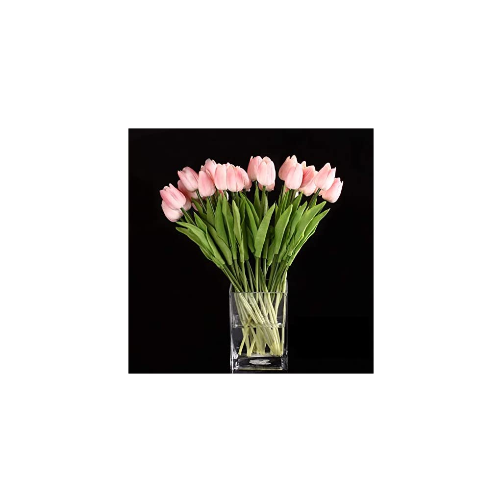 GONGFF 10pcs Tulip Flower Latex Real Touch for Wedding Bouquet Decor Flowers (Pink Tulip)