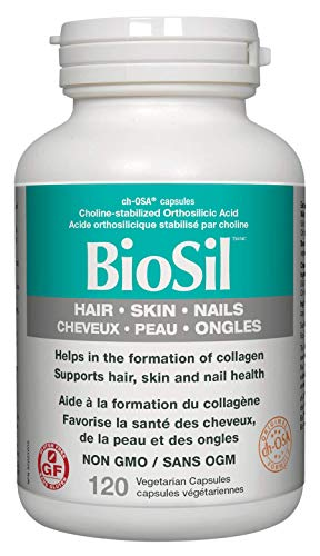 BioSil by Natural Factors, Hair, Skin, Nails, Supports Healthy Growth and Strength, Vegan Collagen, Elastin and Keratin Generator, 120 Capsules