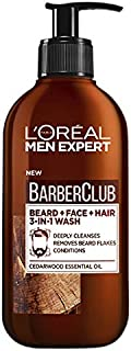 L'Oréal Paris Men Expert Barber Club 3-in-1 Beard, Face and Hair Cleansing Wash For Men, Enriched with Essential Oils, 200ml